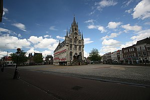 Gouda, South Holland - Market square with gothic city hall