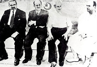 Tunisian independence - Ministers in the Chenik cabinet exiled in March 1952 (left to right) Mohamed Salah Mzali, M'hamed Chenik, Mahmoud El Materi and Mohamed Ben Salem.