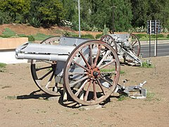 The two Ordnance BLC 15 pounders in Kollege road.