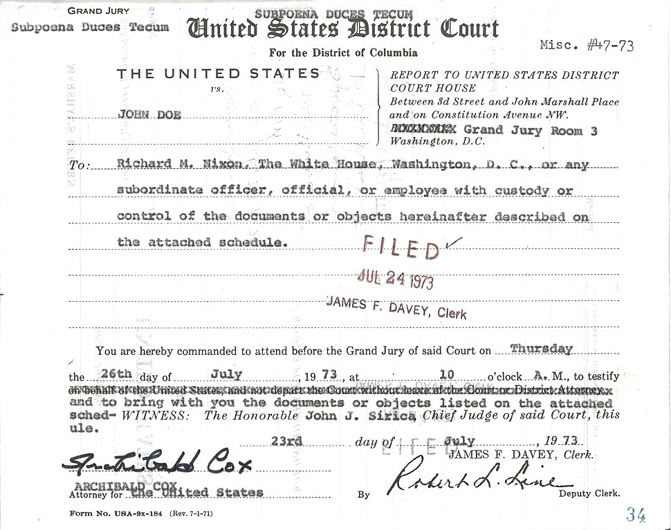 Grand Jury Subpoena Duces Tecum to Richard M. Nixon to Testify and Bring Documents or Objects Listed, with Attached Schedule of Documents or Objects to be Produced by or on Behalf of Richard M. Nixon - NARA - 7582824 (page 1)