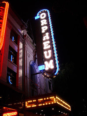 Orpheum (Vancouver) - The Orpheum Theatre, advertising the Vancouver Symphony Orcherstra.