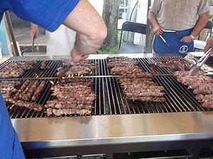Greek festival - Souvlaki grilling at the 2011 Greek Festival in Piscataway, New Jersey on May 15, 2011