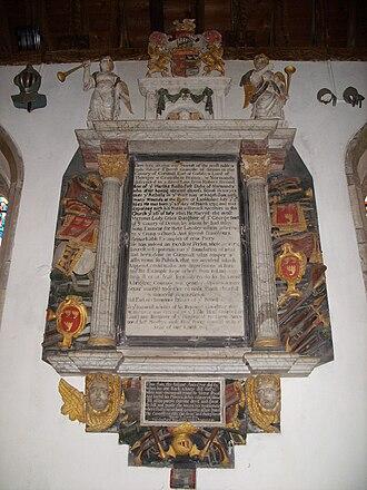Kilkhampton - Bevil Grenville's memorial, in Kilkhampton church