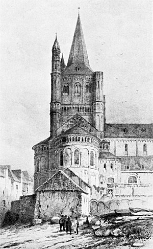 Great St. Martin Church, Cologne - An early 19th-century view of the north side of the church, after the demolition of the abbey, reveals the triapsidal Romanesque structure of the eastern end.