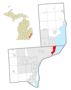 Cities that are included as part of the Grosse Pointe area within Wayne County (bottom) and Macomb County (top)