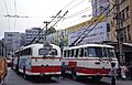 Guangzhou trolleybuses from behind, cropped (1991).jpg