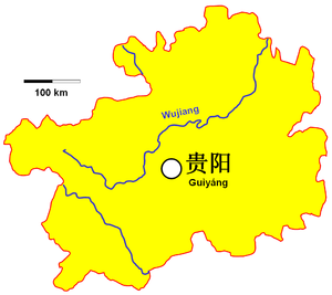 Location of Guiyang in Guizhou Province
