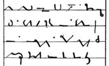 Four lines of shorthand writing, symbolic characters composed of dots and straight and curved lines