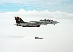 A US Navy VF-103 Jolly Rogers F-14 Tomcat fighter launches an AIM-54 Phoenix long-range air-to-air missile. Photo courtesy U.S. Navy Atlantic Fleet.