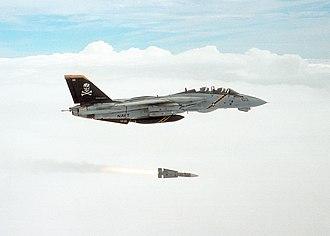 Fighter aircraft - Grumman F-14 Tomcat firing an AIM-54 Phoenix long-range air-to-air missile.