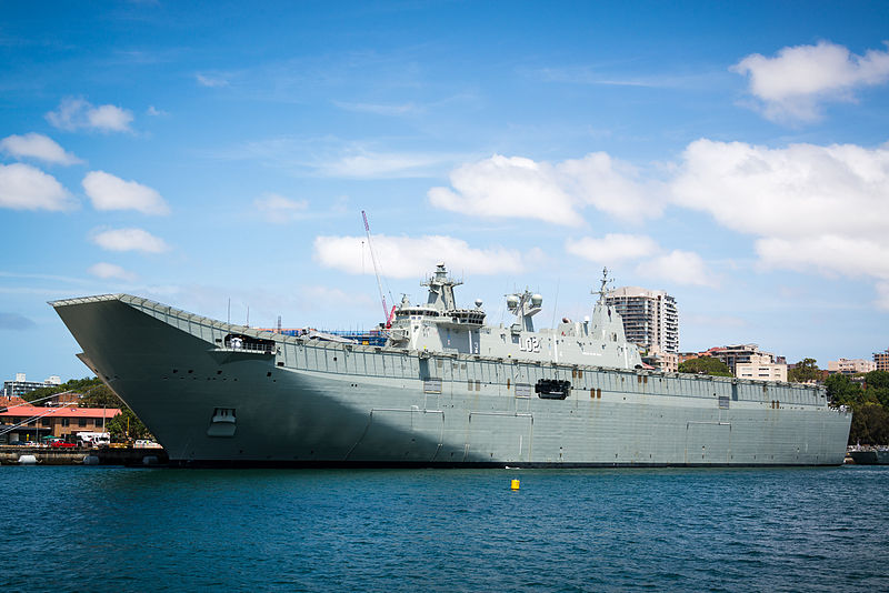 HMAS Canberra (LHD 02) at berth prior to commissioning.jpg