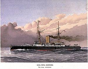 HMS Royal Sovereign (1891) - Image: HMS Royal Sovereign First Class Battleship RMG PU0309
