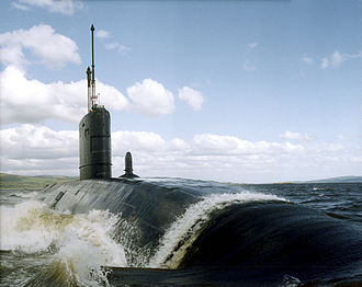 Royal Navy Submarine Service - The Swiftsure-class submarine HMS Superb on the Clyde in Scotland.