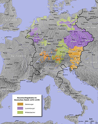 Duchy of Austria - Habsburg (orange), Luxembourg (violet) and Wittelsbach (green) dominions within the Holy Roman Empire, 14th century