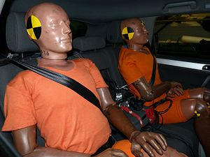 Crash test dummy - Two uninstrumented Hybrid II 50th percentile male dummies used as ballast in a low speed collision test.