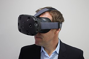 HTC's former executive director of marketing Jeff Gattis wearing a Vive.
