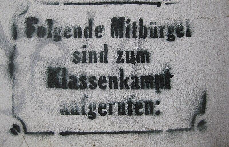 Datei:Hamburg-Ottensen Aufruf zum Klassenkampf.jpg