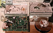 A disassembled and labeled 1997 hard drive.