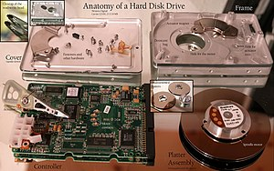 Hard disk drive - A disassembled and labeled 1997 HDD lying atop a mirror