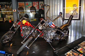 Easy Rider - Replicas of the Captain America bike and Billy Bike at the Harley-Davidson Museum.