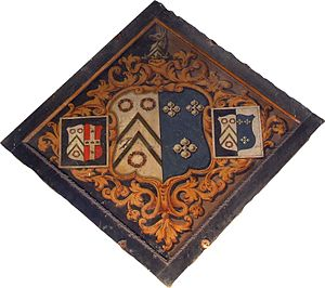 Wymondham Abbey - Hatchment now hung in the ringing chamber