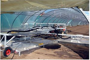 Soil steam sterilization - Half automatic steaming hood with three wings in greenhouse