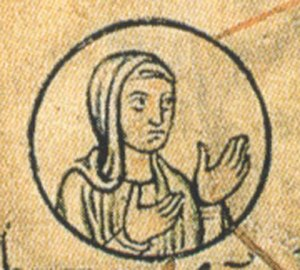 Hedwig of Saxony - Hedwig of Saxony, detail from the Chronica sancti Pantaleonis, 12th century