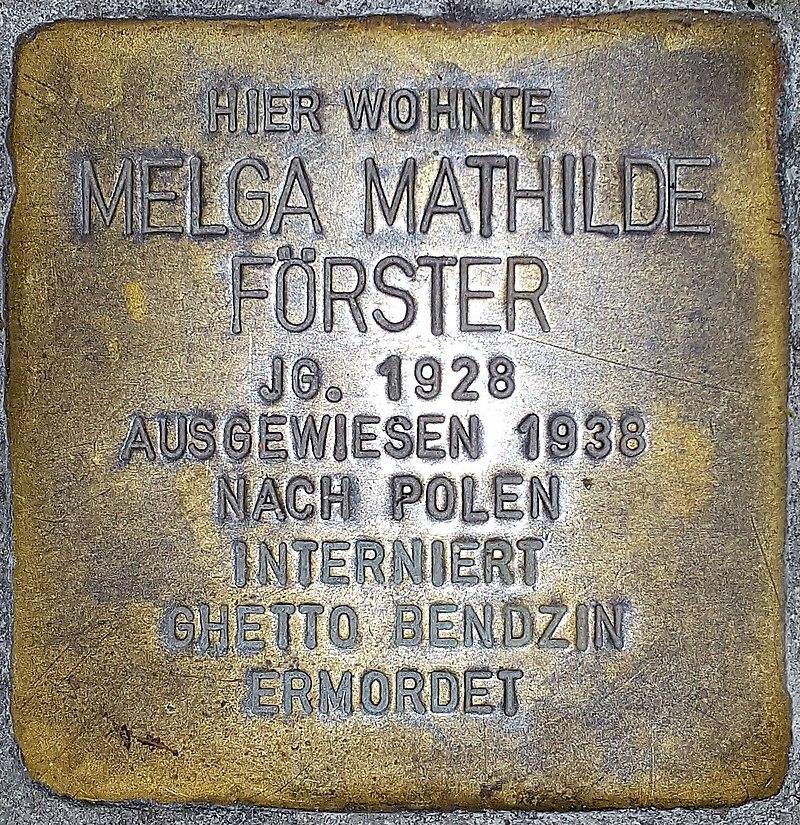 Helga Mathilde Förster, Mauergasse 14 (Wiesbaden), Stolperstein.jpg