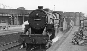Hendon railway station - Down fast freight in 1949