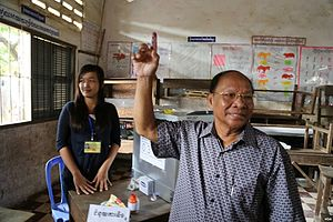 Cambodian general election, 2013 - National Assembly president Heng Samrin at a polling station in Kampong Cham province.