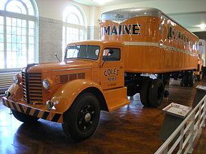 Fruehauf Trailer Corporation - Image: Henry Ford Museum August 2012 41 (1952 Federal 45M truck tractor with 1946 Fruehauf semi trailer)