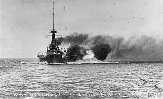 HMS Hercules (1910) - Hercules at battle practice, 1913