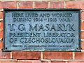 Here lived and worked during the 1914 - 1918 war T. G. Masaryk President Liberator of Czeckoslovakia.jpg