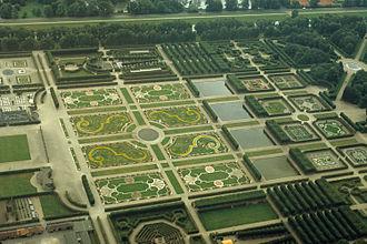 Herrenhausen Gardens - Aerial view of the Northern half of the Great Garden