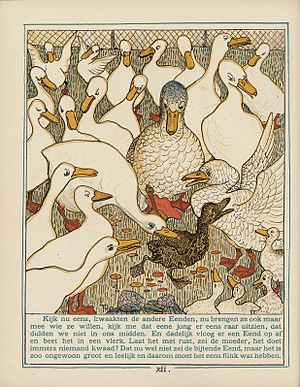 Hans Christian Andersen bibliography - The Ugly Duckling, book illustration by Theo van Hoytema.