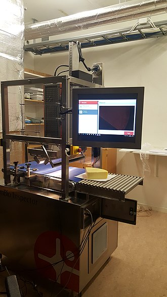 Hyperspectral imaging - A line scan push-broom system was used to scan the cheeses and images were acquired using a Hg-Cd-Te array (386x288) equipped linescan camera with halogen light as a radiation source.