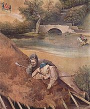 A detail from a painting by Hieronymus Bosch showing two bagpipers (15th Century)