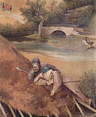 Bagpipes - A detail from a painting by Hieronymus Bosch showing two bagpipers (15th century).