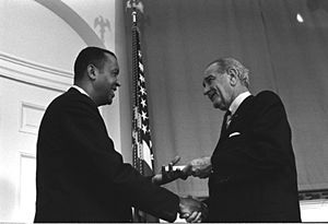 A. Leon Higginbotham Jr. - Judge Higginbotham receiving his commission from President Johnson