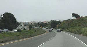 California State Route 35 - SR 35 briefly becomes a divided highway west of Daly City.