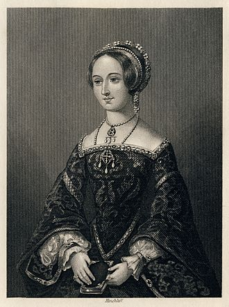 Heptaméron - Hinchliff's engraving of Marguerite, Queen of Navarre, from an 1864 edition of The Heptaméron