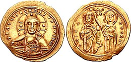 Photo of the obverse and reverse of a medieval gold coin, showing a bust of Christ Pantokrator and a ruler crowned by the Theotokos