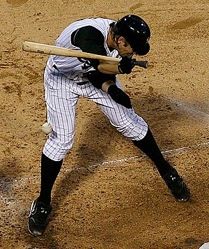 Hit by pitch - Joe Crede of the Chicago White Sox after being hit by a pitch