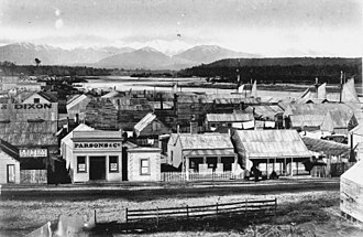 Hokitika - Hokitika township in the 1870s