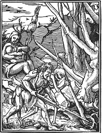 Clearing (geography) - Part of the wood engraving, Totentanz (1538), by Hans Holbein the Younger, showing the clearing of a forest to create farmland.
