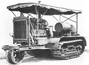"Holt Manufacturing Company - The Holt 75 model gasoline-powered Caterpillar tractor used early in World War I as an artillery tractor. Later models were produced without the front ""tiller wheel."""