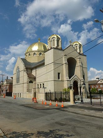 Holy Trinity Greek Orthodox Church (Lowell, Massachusetts) - Image: Holy Trinity Church; Lowell, MA; west and south (front) sides; 2011 08 20