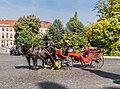 Horse-drawn taxis at Platz der Demokratie in Weimar 02.jpg