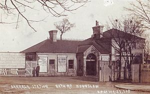 Hounslow West tube station - The original station building in the early 1900s.