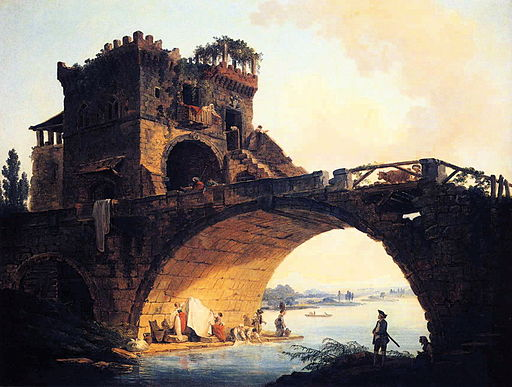 Hubert Robert - The Old Bridge